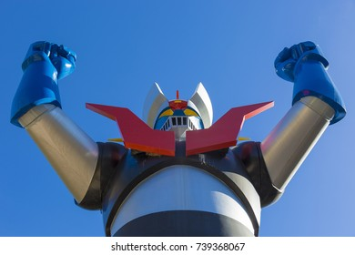 SPAIN-TARRAGONA-October 22,2017: statue of mazinger Z of 10 meters that was installed in the year 1979