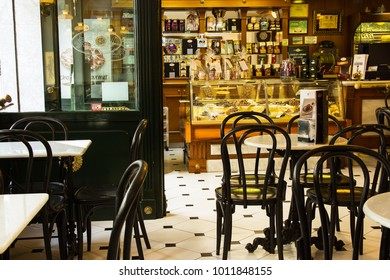 SPAIN-TORREVIEJA, ALICANTE - OCTOBER 16, 2016: Interior of Famous Spanish Chocolatier and Coffeehouse Valor. Beautiful European Classic Style. Showcase with Artisanal Pastry Chocolate Candies.