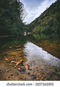 Spajici lake, Zaovine. Moody day on lake at Tara mountain, Serbia. - Shutterstock ID 1837262005
