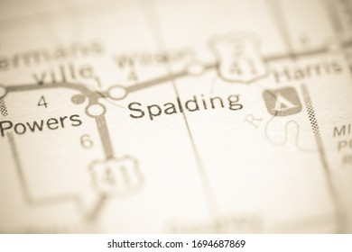 Spalding. Michigan. USA on a geography map.
