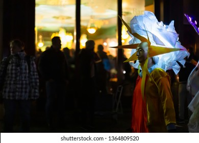 Spalenberg, Basel, Switzerland - March 11th, 2019. Side view of a single beautiful carnival mask and costume.