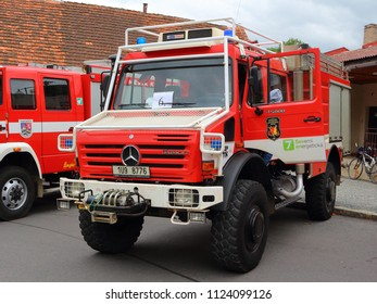 SPALENE PORICI, CZECH REPUBLIC - JUNE 23, 2018: Firefighters truck Mercedes-Benz. Firefighters exhibition for public.