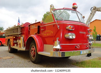 SPALENE PORICI, CZECH REPUBLIC - JUNE 23, 2018: Firefighters truck veteran American LaFrance. Firefighters exhibition for public.