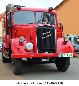 SPALENE PORICI, CZECH REPUBLIC - JUNE 23, 2018: Firefighters truck veteran Opel Blitz. Firefighters exhibition for public.