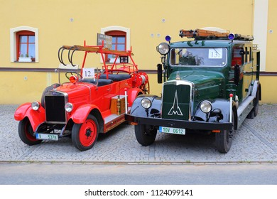 SPALENE PORICI, CZECH REPUBLIC - JUNE 23, 2018: Firefighters trucks veterans Skoda from the 1930s. Firefighters exhibition for public.
