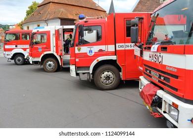 SPALENE PORICI, CZECH REPUBLIC - JUNE 23, 2018: Firefighters trucks in row. Firefighters exhibition for public.