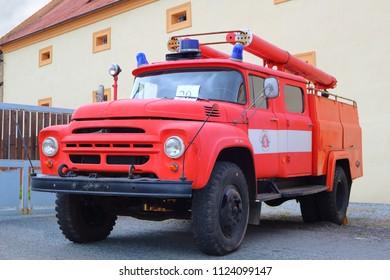 SPALENE PORICI, CZECH REPUBLIC - JUNE 23, 2018: Firefighters truck veteran AMO ZiL. Firefighters exhibition for public.