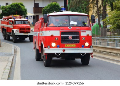 SPALENE PORICI, CZECH REPUBLIC - JUNE 23, 2018: Firefighters trucks Skoda moving fast to the fire site. Firefighters exhibition for public.