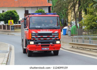 SPALENE PORICI, CZECH REPUBLIC - JUNE 23, 2018: Firefighters truck DAF moving fast to the fire site. Firefighters exhibition for public.
