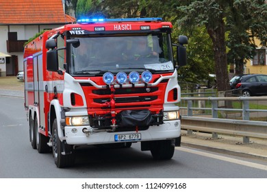 SPALENE PORICI, CZECH REPUBLIC - JUNE 23, 2018: Firefighters truck WISS moving fast to the fire site. Firefighters exhibition for public.