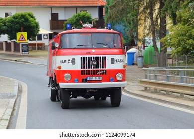 SPALENE PORICI, CZECH REPUBLIC - JUNE 23, 2018: Firefighters truck IFA moving fast to the fire site. Firefighters exhibition for public.
