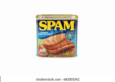 Spam a brand of canned precooked chopped pork shoulder with ham introduced in 1937 by the Hormel Foods Corporation. United Kingdom - October 15 2014