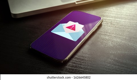 Spam Email Message Distribution, Malware Spreading Virus - smartphone with spam mail notification with alert and warning message icon. Irrelevant unsolicited e-mail malicious software, scam, fraud