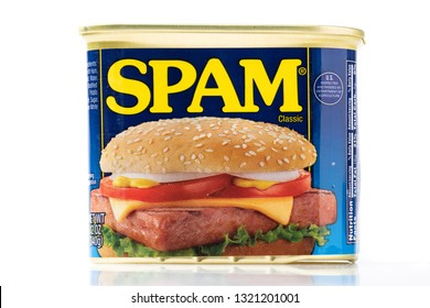 Spam Tin Can on White Background