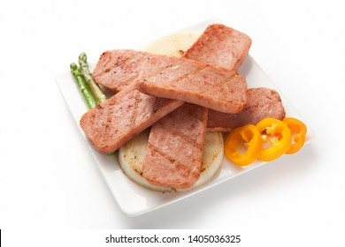 Spam and white rice in bowl