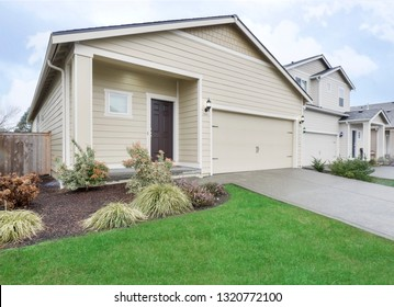 Spanaway, WA / USA - Feb. 19, 2019: Residential front exterior