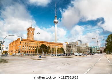 Spandauer street with Rotes Rathaus and Berlinen Fernsehturn TV tower in Berlin, Germany.