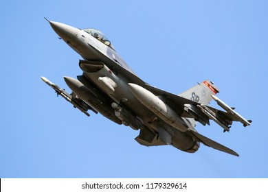 SPANGDAHLEM, GERMANY - 29 AUG, 2018: Armed US Air Force F-16C fighter jet plane from 480th Fighter Squadron taking off from Spangdahlem Air Base.