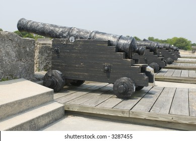 Spanish American fortress cannons on top fort deck - series 02