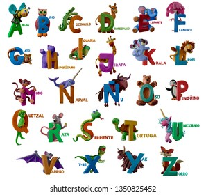 "Spanish animals alphabet handmade with plasticine. ""A-Z"" letter with animals. Isolated on white background – Image"