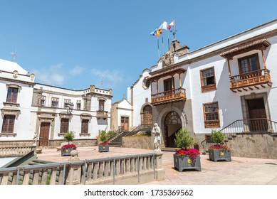 Spanish architecture at Icod de los vinos city hall in Tenerife, Canary Islands - Shutterstock ID 1735369562