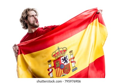 Spanish athlete / fan celebrating on white background