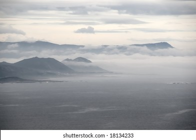 Spanish Atlantic coast with clouds and fog