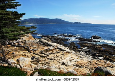 Spanish Bay at rocky pebble beach landscape in Monterey California usa