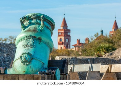 Spanish bronze alloy mortar from Castillo de San Marcos overlooking Flagler college in historic Saint Augustine, Florida, USA