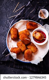 Spanish Cheese Croquettes with Ham.style rustic.selective focus