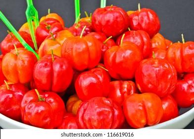 The Spanish cherry ripe on white plate