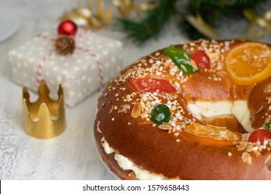 Spanish Christmas cake, Roscon de reyes , desert eaten in Spain for celebrate Epiphany or Dia de Reyes Magos, Three Wise Men Day. Spanish Christmas with traditional crown