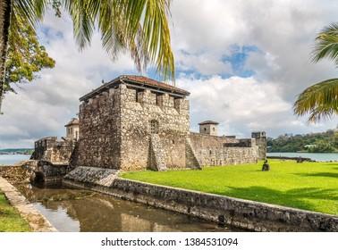 Spanish colonial fort Castle of San Felipe de Lara at the entrance to Lake Izabal - Guatemala