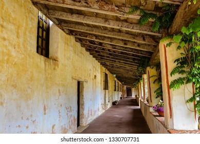 Spanish colonial style veranda, Mission Carmel Church - Carmel, CA.