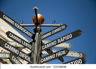 Spanish Conceptual signs, correct, wrong, fast, slow, easy, difficult way
