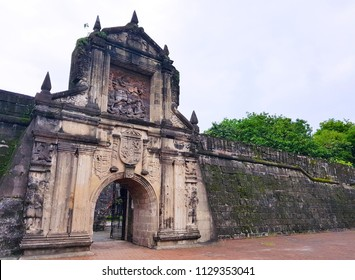 Spanish conquistador citadel Fort Santiago Intramuros district of Manila, Philippines, viewing in the clearly blue sky day.