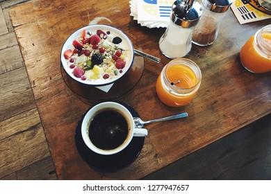 Spanish European breakfast in a cosy organic food cafe in Barcelona