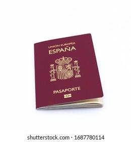 Spanish European Union Passport  on the white background. Isolated