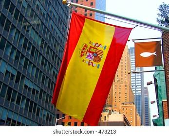 Spanish Flag Against City