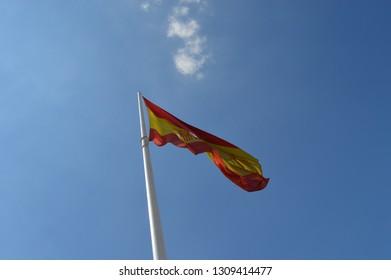 Spanish flag and blue sky