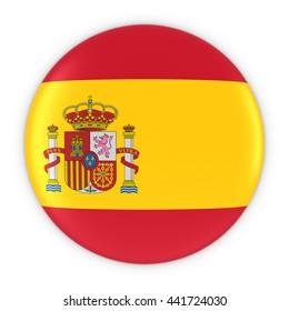 Spanish Flag Button - Flag of Spain Badge 3D Illustration