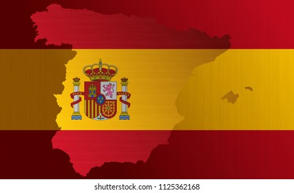 Spanish flag with a contour of borders