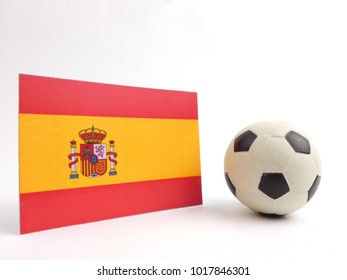 Spanish flag with football ball isloated on white background