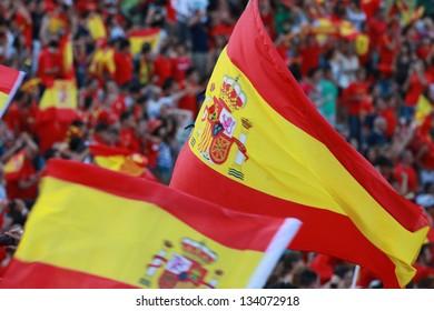 Spanish flag on a football stadium