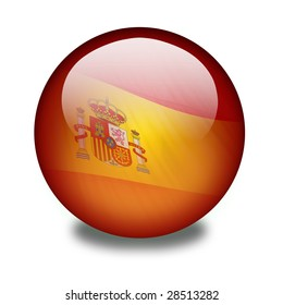 Spanish flag on a shiny orb or sphere with a flag inside. Clipping path with the orb (without the drop shadow) included.