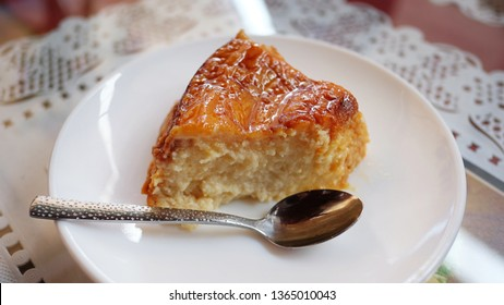 Spanish flan de leche known as Quesillo in the Canary Islands, a popular dessert based on eggs and condensed milk with caramel topping, sweet pudding served in small local cafes and restaurants