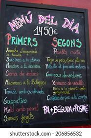 Spanish Food Menu on Board in Costa Brava, Catalonia, Spain
