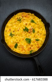 Spanish frittata with pasta, eggs and cheese