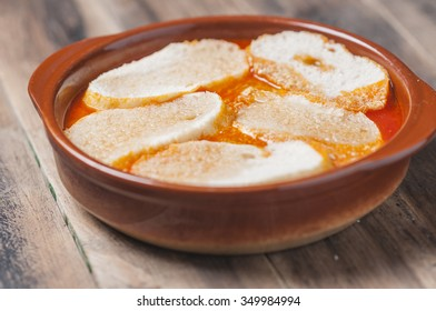 Spanish garlic soup with egg and bread