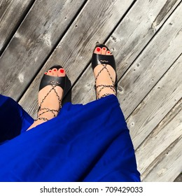 Spanish girls cobalt blue dress
